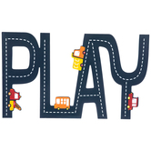 Play Cutout With Trucks Wall Decor, Wood, Navy Blue, 24 1/4 x 14 3/8 x 3/8 inches