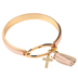 Bella Grace, Cross with Leather-like Tassel Bangle Bracelet, Brass, Gold-tone, 2 1/4 inch diameter