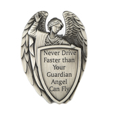 Dicksons, Never Drive Faster Than Your Guardian Angel Can Fly Auto Visor Clip, Metal, Silver, 1 3/4 x 2 1/2 Inches