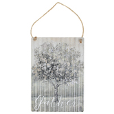 Gather Tree Corrugated Metal Wall Decor, Gray, 11 x 7 7/8 inches