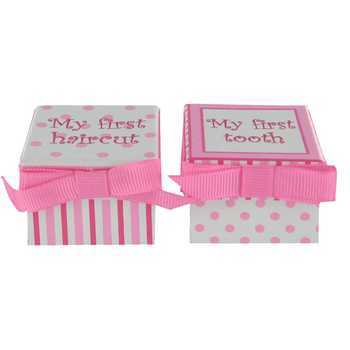 Baby Girl First Haircut and First Tooth boxes, Pink 1 3/4 x 1 3/4
