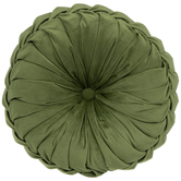 Olive Green Velvet Round Textured Pillow, Polyester, 15-inch Diameter x 5.37 Inches