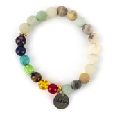 Radiant Sol, Child of God Beaded Stretch Bracelet, Natural Agate and Glass, Assorted Colors