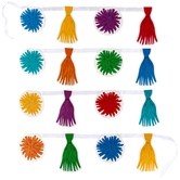 Renewing Minds Collection, Tassel and Poms Double-Sided Pennant Banner with Ribbon, 14 Designs, 16 Flags, 12 Feet