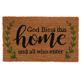 God Bless This Home Doormat, Coir, Black, Green, and Natural, 18 x 30 Inches