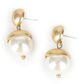 His Truly, Pearl and Gold Dangle Earrings, Zinc Alloy, Brushed Gold and Cream