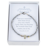 Collectables America, Teen Prayer Beaded Bracelet, Silver, 6 1/2 inches
