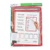 Renewing Minds, Dry-Erase Sleeve, Reusable, 9 x 12 Inches, Primary Colors Trim, 5 Each, Grades K-12
