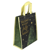 Renewing Faith, Silent Night Holy Night Christmas Reusable Tote Bag, Small, 10 x 4 x 12 inches