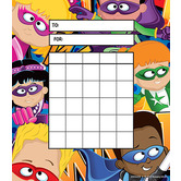 Superheroes Collection, Superheroes Mini Incentive Charts, 4.75 x 6 Inches, Multi-Colored, 36 Sheets