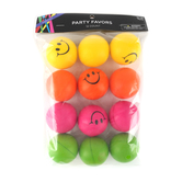 Brother Sister Design Studio, Smiley Face Squishy Relax Ball, 2 Inches, Assorted Colors, Pack of 12