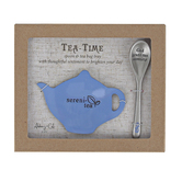Abbey and CA Gift, Tea Time Sereni-Tea Bag Tray and Spoon Gift Set, Cornflower Blue, 2 Pieces