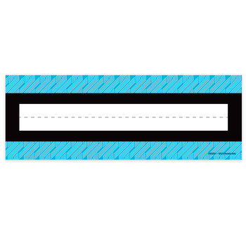 Isabella Collection, Nameplates, Blue and White Geo Braid, 9.25 x 2.5 Inches, 36 Count