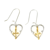 Loved By Design, Silver Heart/Gold Cross Dangle Earrings, Sterling Silver and Gold Plated