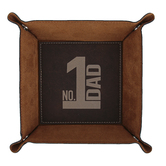 Carson Home Accents, Dad Catchall Tray, Leather, Brown, 6 1/2 x 6 1/2 x 1 7/8 inches