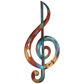 Rainbow Treble Clef Wall Decor, Metal, Assorted Colors, 27 1/2 x 12 x 7/16 inches