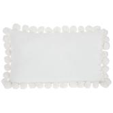 White Velvet Lumbar Pillow with Pom Poms, Polyester, 20 x 12 x 4.50 Inches