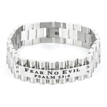 Spirit & Truth, Psalm 23:4, Fear No Evil, Men's Link Band Bracelet, Stainless Steel, Silver, 3/4 x 9 Inches
