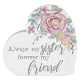 Carson Home Accents, Always My Sister Forever My Friend Heart Block, Wood, 6 x 6 inches