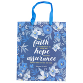 Medium Faith Floral Gift Bag, Paper, Blue