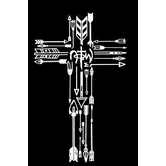 NOTW, Arrows in Cross Window Decal, White, 5 3/4 x 3 3/4 inches