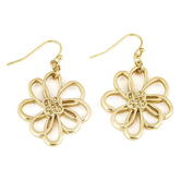 Mercy Adorned, Proverbs 3:3-4 Flower Design Dangle Earrings, Zinc Alloy, Brushed Gold