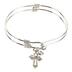 H.J. Sherman, Ornate Cross Double Strand Bangle Charm Bracelet, Rhodium Plated, Silver