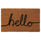 Hello Doormat, Coir, Brown and Black, 18 x 30 Inches