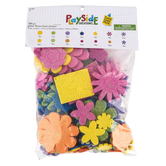 Playside Creations, Foam Glitter Flower Stickers, 1/4 to 3 Inches, Assorted Colors, 286 Pieces
