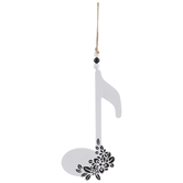Single Eighth Note Wall Decor, MDF, White & Black Floral, 14 3/4 x 6 7/8 x 7/8 Inches