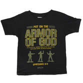 Kerusso, Ephesians 6:11 Put On The Armor Of God, Kid's Short Sleeve T-shirt, Black, 3T-Youth Large