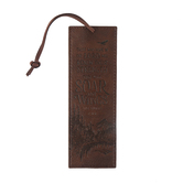 Christian Art Gifts, Isaiah 40:31 Soar On Wings Bookmark, Faux Leather, Brown, 6 1/2 x 2 1/8 inches