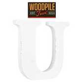Woodpile Fun, Stand Alone Wood Letter - U, 3 inches, White