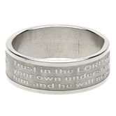 Dicksons, Proverbs 3:5-6, Scripture Ring, Stainless Steel, Sizes 6-11