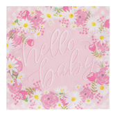 Brother Sister Design Studio, Hello Baby Large Napkins, Pink Floral, 6 1/2 x 6 1/2 Inches, Pack of 25