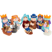 Plush Nativity Set, Polyester, 3 to 7 inches tall, 10 Pieces