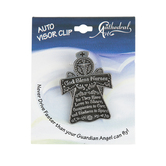 Abbey and CA Gift, God Bless Nurses Angel Visor Clip, Pewter, 1 1/2 x 2 inches