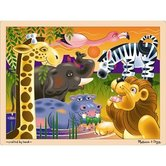 Melissa & Doug, African Plains Wooden Jigsaw Puzzle, Ages 3 to 5 Years Old, 24 Pieces