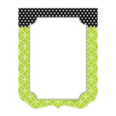 Isabella Collection, Rectangle Notepad, 6.25 x 8 Inches, Green, Black, and White Scalloped, 50 Sheets