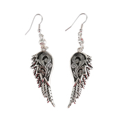 MOA International, Filigree Angel Wing Dangle Earrings, Silver Plated
