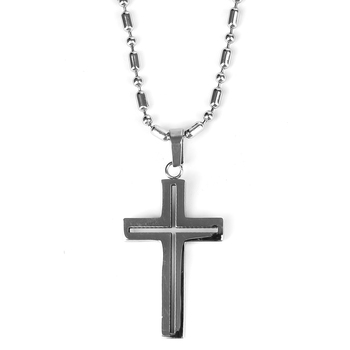 H.J. Sherman, Brushed Stainless Steel Cut Out Cross, Men's Necklace, 24 inches