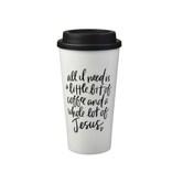 All I Need Travel Coffee Mug, White, Plastic, 16 ounces