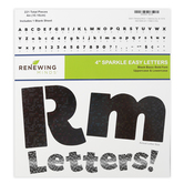 Renewing Minds, Black Sparkle Bulletin Board Letters, Upper and Lowercase, 4 Inches, Black, 221 Pieces