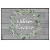 Flagship Carpets, Welcome to Our Classroom Rug, Farmhouse Collection, Grey and Green, 4 x 6 Feet