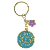 Christian Art Gifts, Grow In Grace Keyring, Metal, Gold and Teal, 3 7/8 x 1 3/8 inches