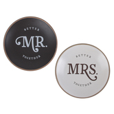Christian Art Gifts, Better Together Mr & Mrs Trinket Trays, Ceramic, Black & White, 4 1/4 inches