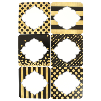 Glimmer of Gold Collection, Large Cutouts, Black and Gold, 36 Pieces