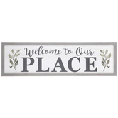 Welcome To Our Place Wall Decor, MDF, 14 1/8 x 47 3/8 x 1 3/8 Inches