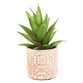 Artificial Succulent in Moasic Pattern Pot, Plastic & Terra Cotta, Green & Orange, 4 x 6 1/2 inches