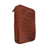 Dicksons, Wings As Eagles Bible Cover, Leather-like, Brown, Multiple Sizes Available